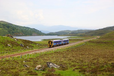 158718 on the 2H83 1056 Inverness to Kyle of Lochalsh at Loch a' Chuilinn on the 9th June 2018
