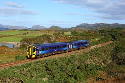 158714 working 2H85 1335 Inverness to Kyle of Lochalsh at Drumbuie on 26 September 2020  Class158, Scotrail, Kyleline