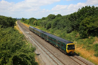 166210 on the 2G81 1044 Swindon to Cheltenham Spa at Upper Hatherley on the 15th July 2018