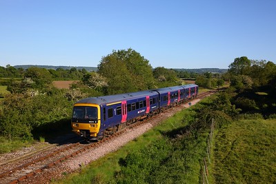 GWR 166215 in FGW blue colours works 2V94 1748 Maiden Newton (vice Weymouth due to Broken track) to Bristol Temple Meads approaching Yetminster on Heart of Wessex line on 20 May 2020