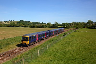 GWR 166215 in FGW blue colours works 2Z78 1533 Westbury to Weymouth (cancelled at Maiden Newton due to broken rail) departs Thornford on the Heart of Wessex line on 20 May 2020