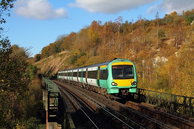 171802 on the 1E29 1208 London Bridge to Uckfield at Riddlesdown on the 6th November 2017