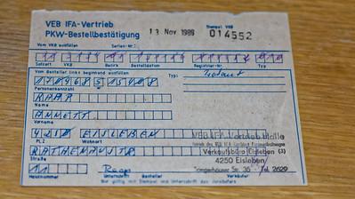 Annett hat Ende 1986 einen Trabbi bestellt. Die Lieferzeiten waren sehr lang. Annett wartet immer noch...