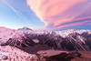 Cloud over Aoraki Mount Cook, Cook Range, Hooker Valley and Mueller Lake from Sealy Range, Aoraki Mount Cook National Park