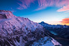 East Face of Mt Sefton, Aoraki Mt Cook and Hooker Valley from Sealy Range. Aoraki Mount Cook National Park, New Zealand
