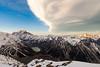 Cloud over Aoraki Mount Cook, Cook Range and Hooker Valley from Sealy Range, Aoraki Mount Cook National Park.