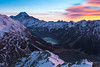 Dawn cloud over Hooker Valley and Aoraki Mount Cook from Sealy Range, Aoraki Mount Cook National Park