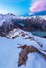 Alpenglow over Hooker Valley and Aoraki Mount Cook from Sealy Range. Aoraki Mount Cook National Park