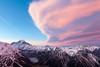 Cloud over Aoraki Mount Cook, Cook Range and Hooker Valley from Sealy Range, Aoraki Mount Cook National Park