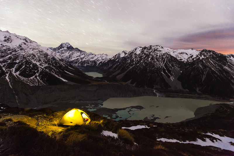 Tent at campsite near the Mueller Hut Track, overlooking Mueller Lake and the Hooker Valley, Aoraki Mount Cook National Park