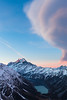 Cloud over Aoraki Mount Cook and Hooker Valley from Sealy Range, Aoraki Mount Cook National Park
