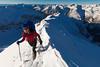 Female mountaineer on Rome Ridge, mount Rolleston, Arthurs Pass National Park