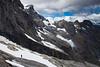 Climber descending beside the Cleft, below Mt Milne, Central Darran Mountains