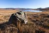 Lake Emily and boulder, Hakatere Conservation Park