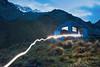 Torch light trail at Tararua Hut, Hodder Huts, Hodder Valley, Mount Tapuae-o-uenuku, Inland Kaikoura Range