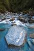 Schist block in Liverpool Stream, West Matukutuki Valley, Mount Aspiring National Park