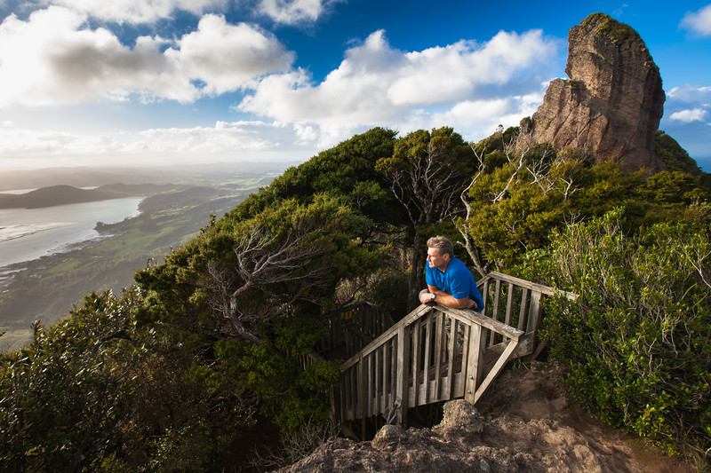 Man enjoying view from Mount Manaia Track, Northland