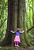 Young girl hugs a tree trunk, Pirongia Forest Park