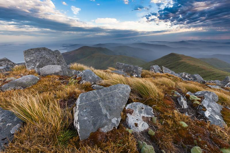 Granite blocks on the summit of Mt Anglem Hananui. Stewart Island Rakiura