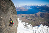 A mixed climber attempting first winter ascent of Blow Up (M8), Telecom Towers, Remarkables