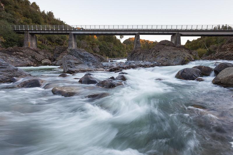 Whakapapa River and bridge, Owhango. Central North Island