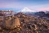Volcanic boulders and Mount Ngauruhoe, Tongariro Northern Circuit. Tongariro National Park