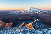 Dawn vista of Mount Ruapehu and the Tama Lakes from the summit of Mount Ngaruhoe, Tongariro National Park