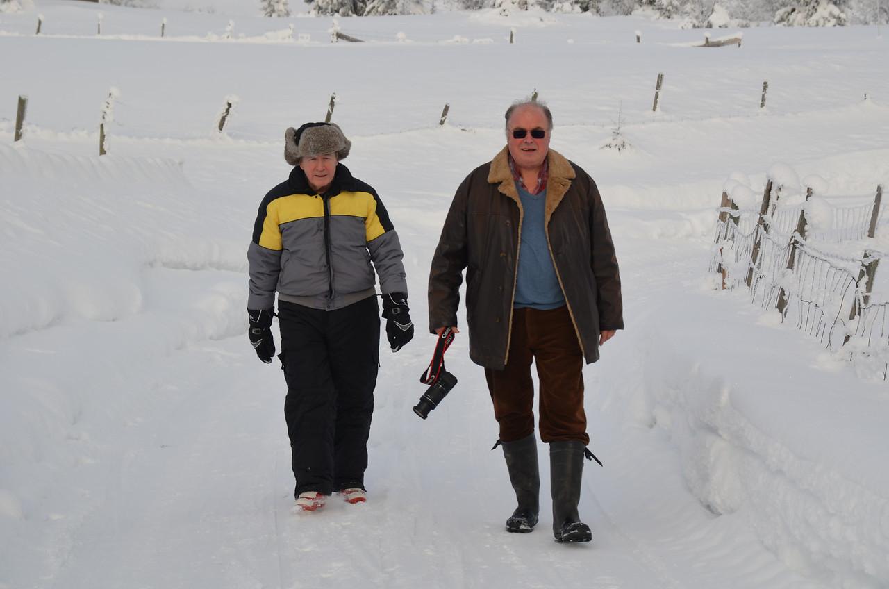 Hank felt a bit safer on feet.  Damn slippery and narrow skis.
