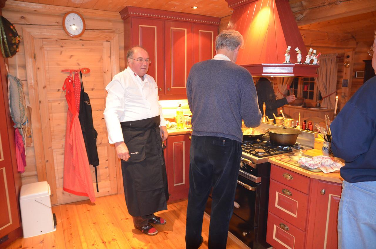 Is Bjørn tasting the food? Complaining?