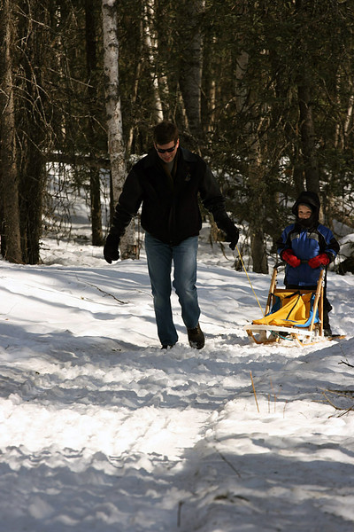 Mayor Mark Begich brought his son Jacob out to the track today for a dog mushing lesson.