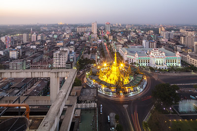 Aerial view of Kyauktada township as seen from Centrepoint Towers, northern direction© Manuel Oka