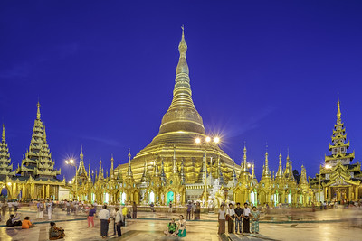 Lights illuminate the Shwedagon Pagoda at night time. The glow can be seen right across Yangon.© Manuel Oka