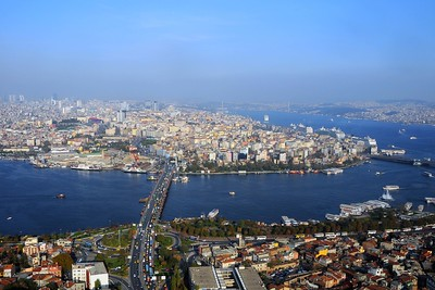 Aerial view of Golden Horn, the Atat??rk Bridge. Istanbul, Turkey