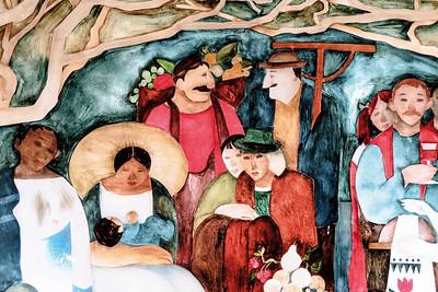 01 Frankfurt (Oder). Europa-Universität Viadrina (ehem. SED-Bezirksparteischule), 1978: Die Freundschaft der Völker der Welt, Eberhard Hückstädt. Fensterbild, Verbindungsbau, EG, innen, Hinterglasmalerei