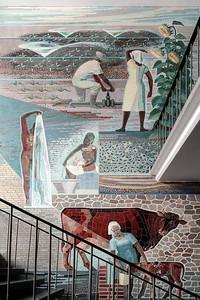 09 Wienrode, Sachsen-Anhalt. Bodewerk, Abt. Trinkwasseraufbereitung, 1965: Wasser in unserem Leben, Walter und Pia Ebeling. Wandbild, Treppenaufgang, innen, Mosaik, farb. Beton, Farbglas, Kiesel, 6,40×7,15 Meter