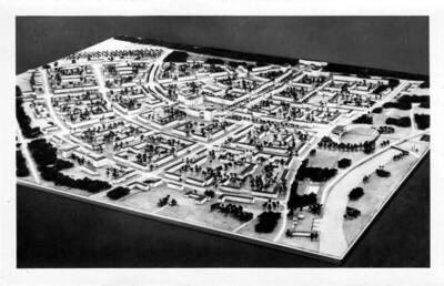 Ansichtskarte Stalinstadt, Modell der Stadt - 1953