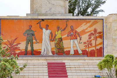 A mural in the tradition of socialist modernism: Monument of the Revolution in Ouagadougou, Burkina Faso, built by North Korean consultants
