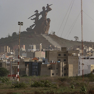 View of Dakar, the capital of Senegal, towards the African Renaissance Monument (Mansudae Overseas Projects / Pierre Goudiaby Atepa, 2010)