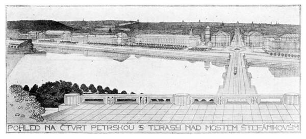 11 Antonín Engel und Bohumil Hübschmann, Wettbewerb für die Ministerien am Peterskai, Perspektive 1920