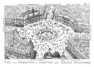 07 Eugène Hénard, Carrefour à Giration (roundabout crossroads with grade-separated crosswalks), aerial perspective, 1905 | Kreisverkehr mit abgesenkter Fußgängerpassage, Vogelperspektive, 1905