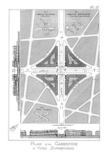06 Eugène Hénard, Carrefour à Voies Superposées (double-level intersection), plan, 1905 | Kreuzung auf zwei Ebenen, 1905