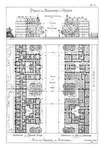 04 Eugène Hénard, Boulevard à Redans (stepped boulevard), section and plan, 1903