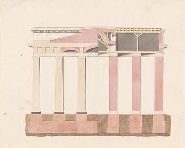 09 Carl Gotthard Langhans, Brandenburger Tor, Querschnitte in zwei Ebenen, 1788/1789, Bleistift und Tusche aquarelliert auf Karton