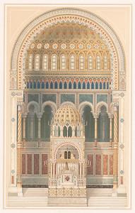 02 Carl Heinrich Eduard Knoblauch (1801–1865), Neue Synagoge, Berlin, Oranienburger Straße, Innenansicht, 1859–1866, Bleistift aquarelliert auf Papier
