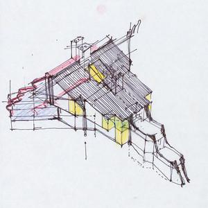 07 Szyszkowitz + Kowalski Architekten, Haus, Wien-Hietzing, 1986–1989, Filzstift und Farbstifte auf Transparentpapier