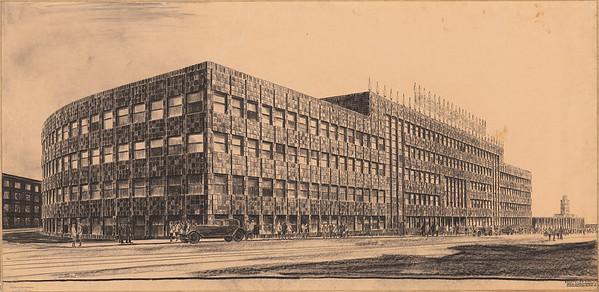 10 Hans Poelzig, Haus des Rund-funks, Berlin, -perspektivische Ansicht Masuren-allee, 1928–1930, Kohle auf -Transparentpapier
