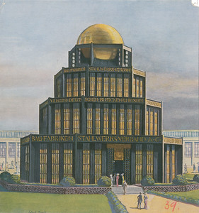 01 Bruno Taut, Franz Hoffmann (1884–1951), Monument des Eisens, Informationspavillon auf der Internationalen Baufachausstellung in Leipzig, 1913