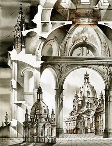 10 DRESDEN. Eine architektonische Fantasie über die Frauenkirche, Dresdens berühmteste Barockkirche. | An architectural fantasy: imaginative rendering of the Frauenkirche, Dresden's most famous baroque church.