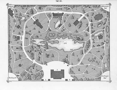 Philipp Leopold Martin: Atlas zur Praxis der Naturgeschichte.12 Tafeln nach Zeichnungen von Leopold Martin jun.Links: Tafel XII. Schematischer Plan zu dem Entwurf eines Centralgartens für Natur- und Völkerkunde