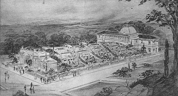 Gustave Loisel: Entwurf für eine Idealmenagerie (1912)Die Architektur gräbt sich in die Erde und dient lediglich als Gehäuse. Zwei mächtige Portale fassen den Kubus, während das Dach verlandschaftlicht und damit für die Tiere nutzbar gemacht wird.